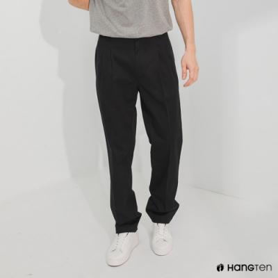 Hang Ten-男裝-經典款-REGULAR FIT打摺防皺褲-黑色
