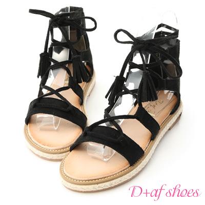 D+AF 波希個性.交叉綁繩草編羅馬涼鞋*黑