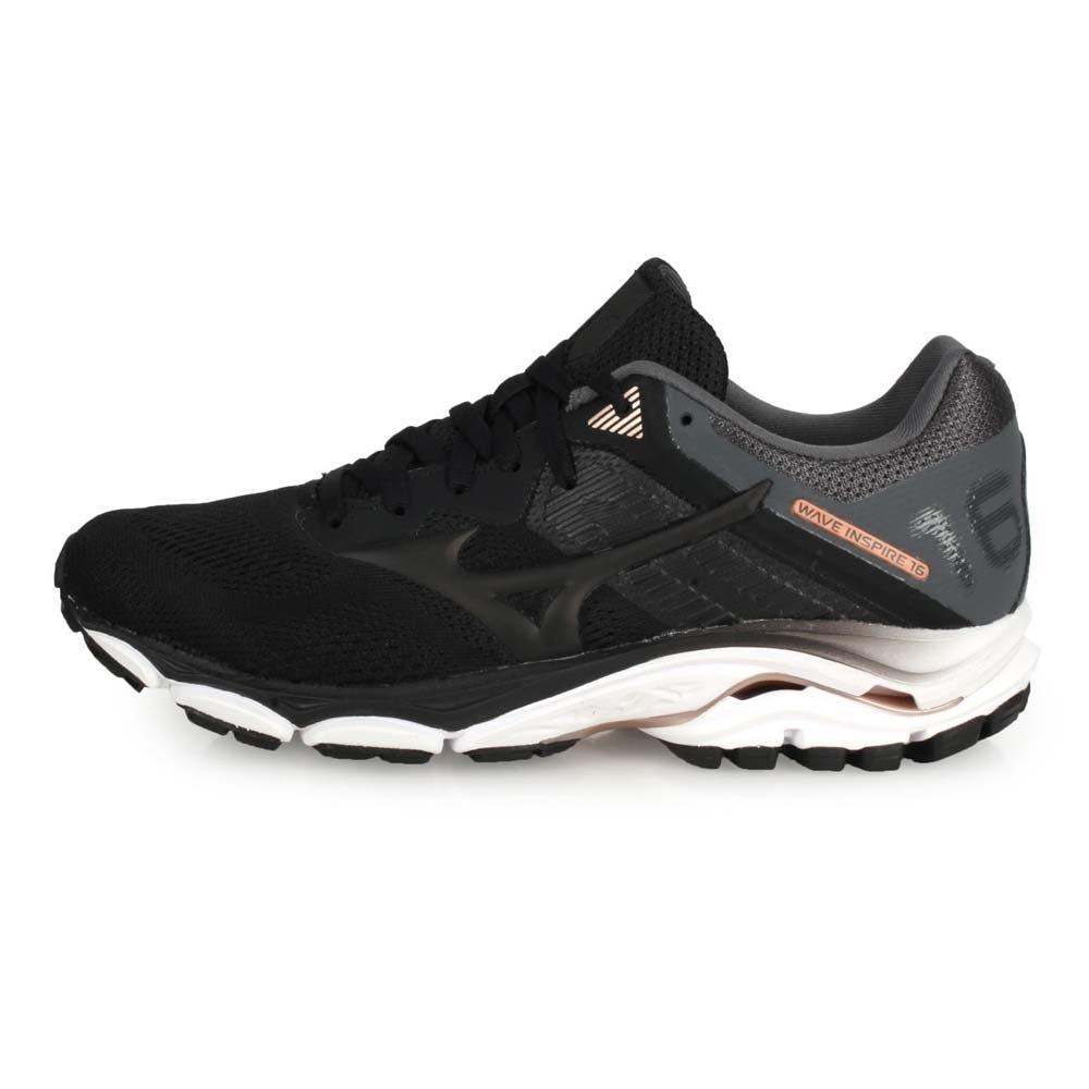 MIZUNO 女慢跑鞋-WIDE WAVE INSPIRE16 黑灰玫瑰金