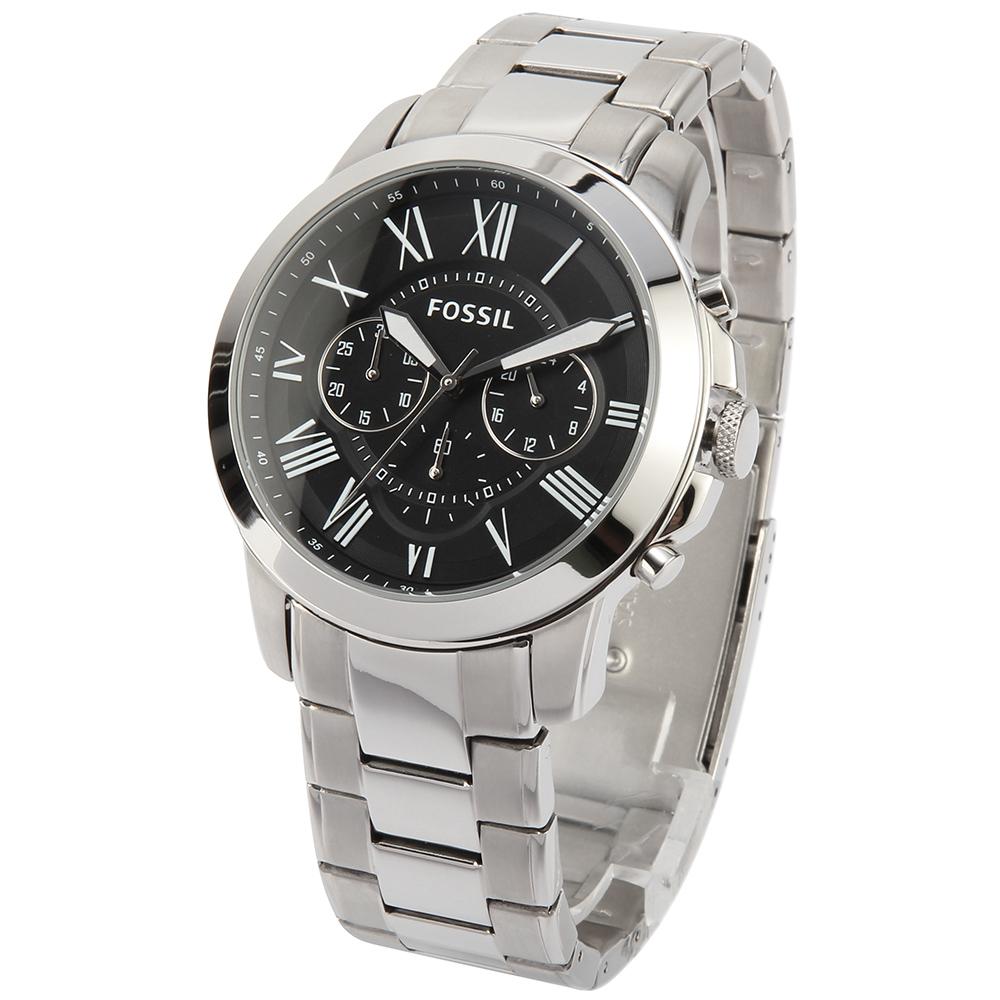 FOSSIL Grant 經典三眼計時腕錶-(FS4736IE)-43mm
