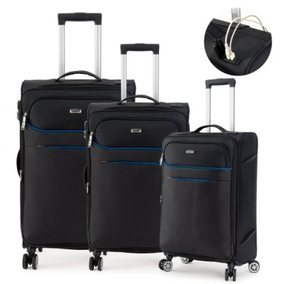DF travel - 紀錄時光可充電可加大防潑水布面行李箱三件組