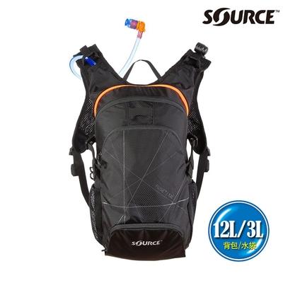 SOURCE 戶外健行水袋背包 Fuse 12L 2054129012|背包12L/水袋3L|黑色