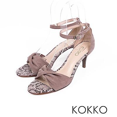 KOKKO -  女神降臨扭結繫帶真皮高跟鞋 - 蛇紋灰