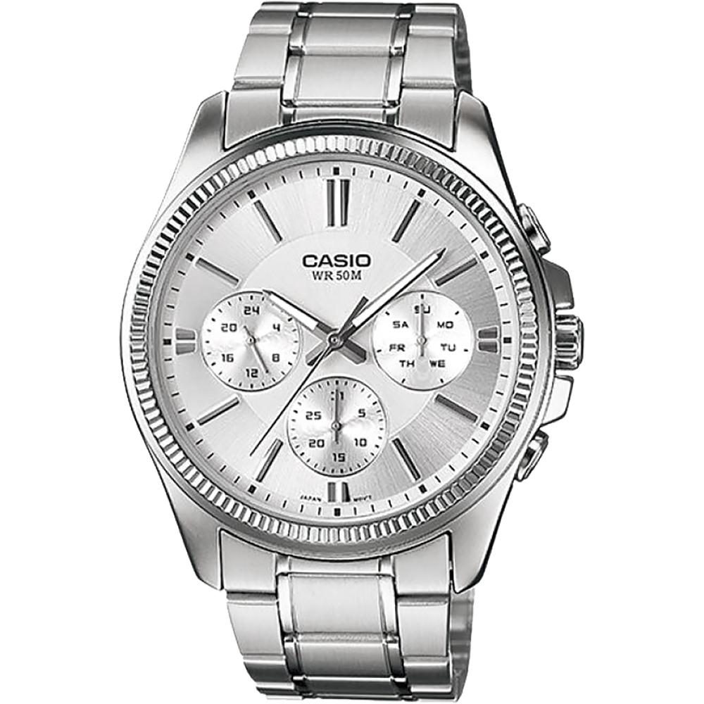 CASIO 卡西歐 城市日曆手錶-銀(MTP-1375D-7AV)