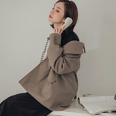 純色西裝領雙排釦挺版毛呢外套-OB大尺碼