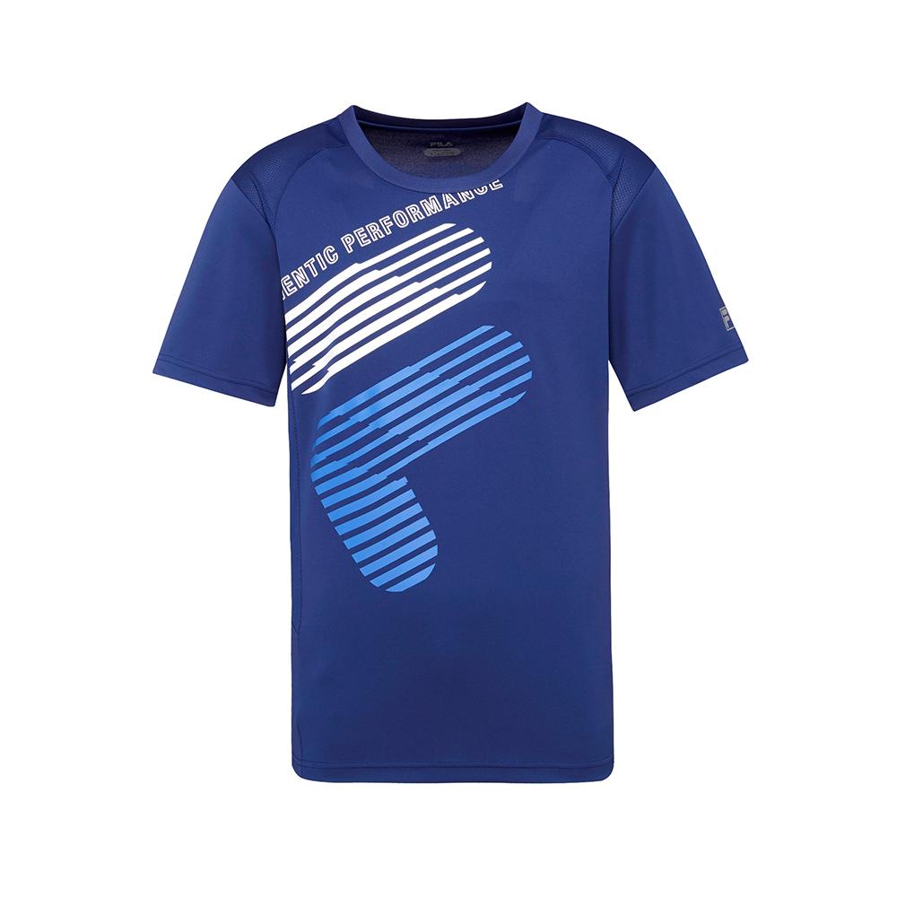FILA 男款抗UV吸濕排汗T恤-藍紫 1TET-1304-DB