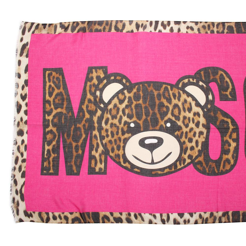 MOSCHINO 經典TOY小熊 豹紋飾邊莫代爾混絲薄圍巾-桃紅/咖啡色