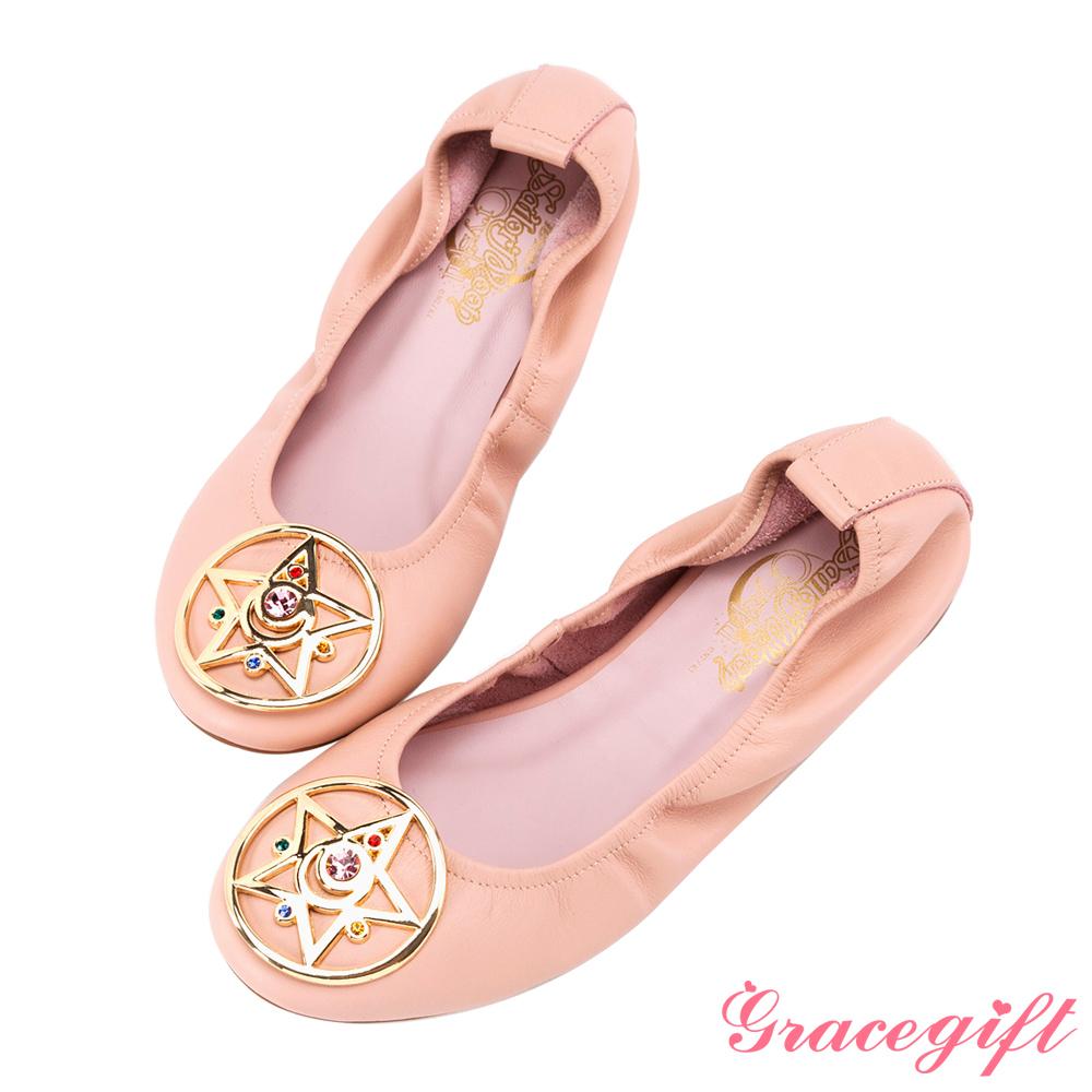 Grace gift-美少女戰士月光水晶全真皮娃娃鞋 粉