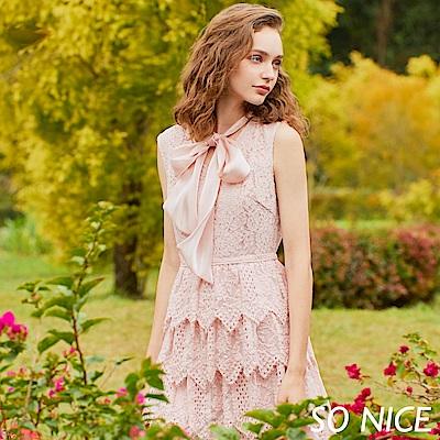SO NICE優雅領結車骨蕾絲蛋糕洋裝