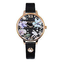 Olivia Burton 英倫復古手錶 寶石花卉 黑色真皮錶帶玫瑰金框34mm