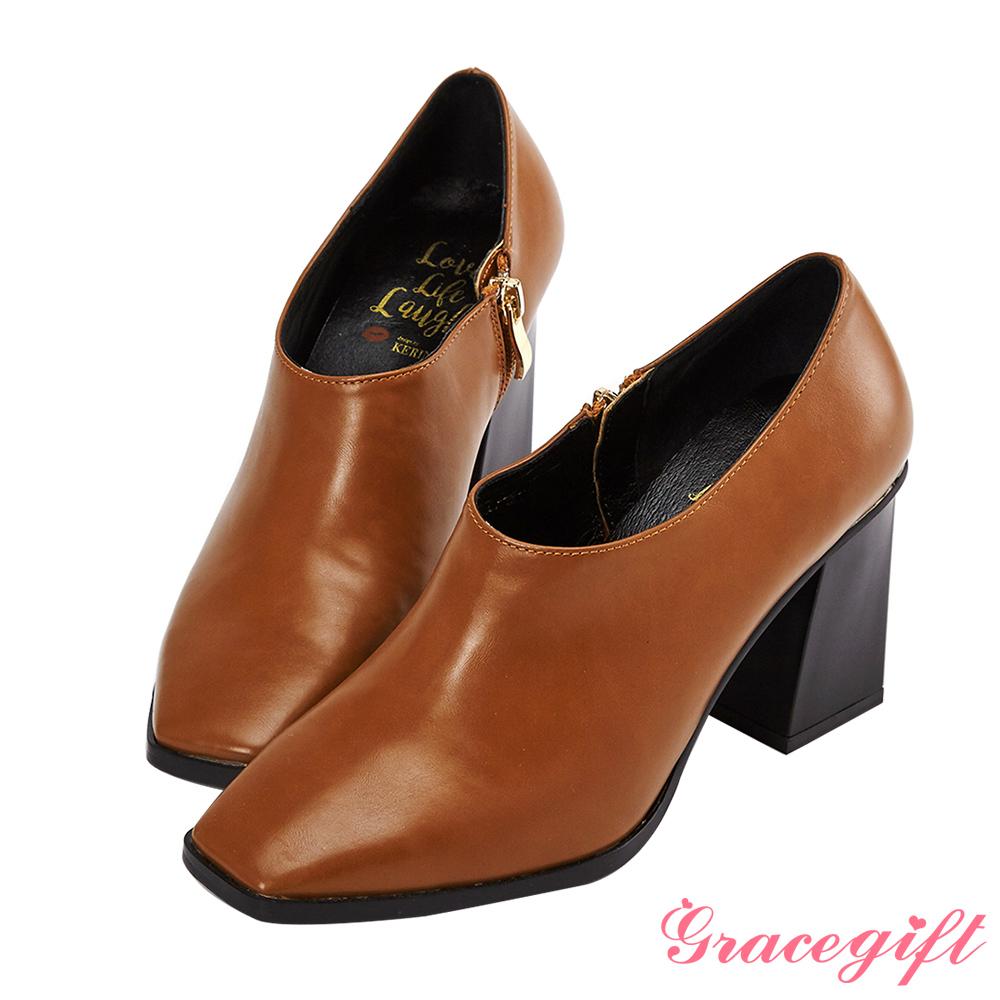 Grace gift X Kerina妞妞-方頭設計感踝靴 棕