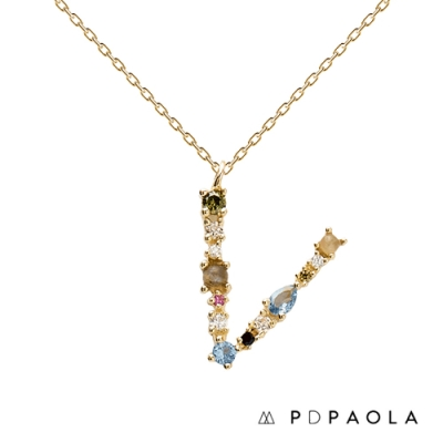 PD PAOLA 西班牙輕奢時尚品牌 字母V 彩鑽寶石項鍊