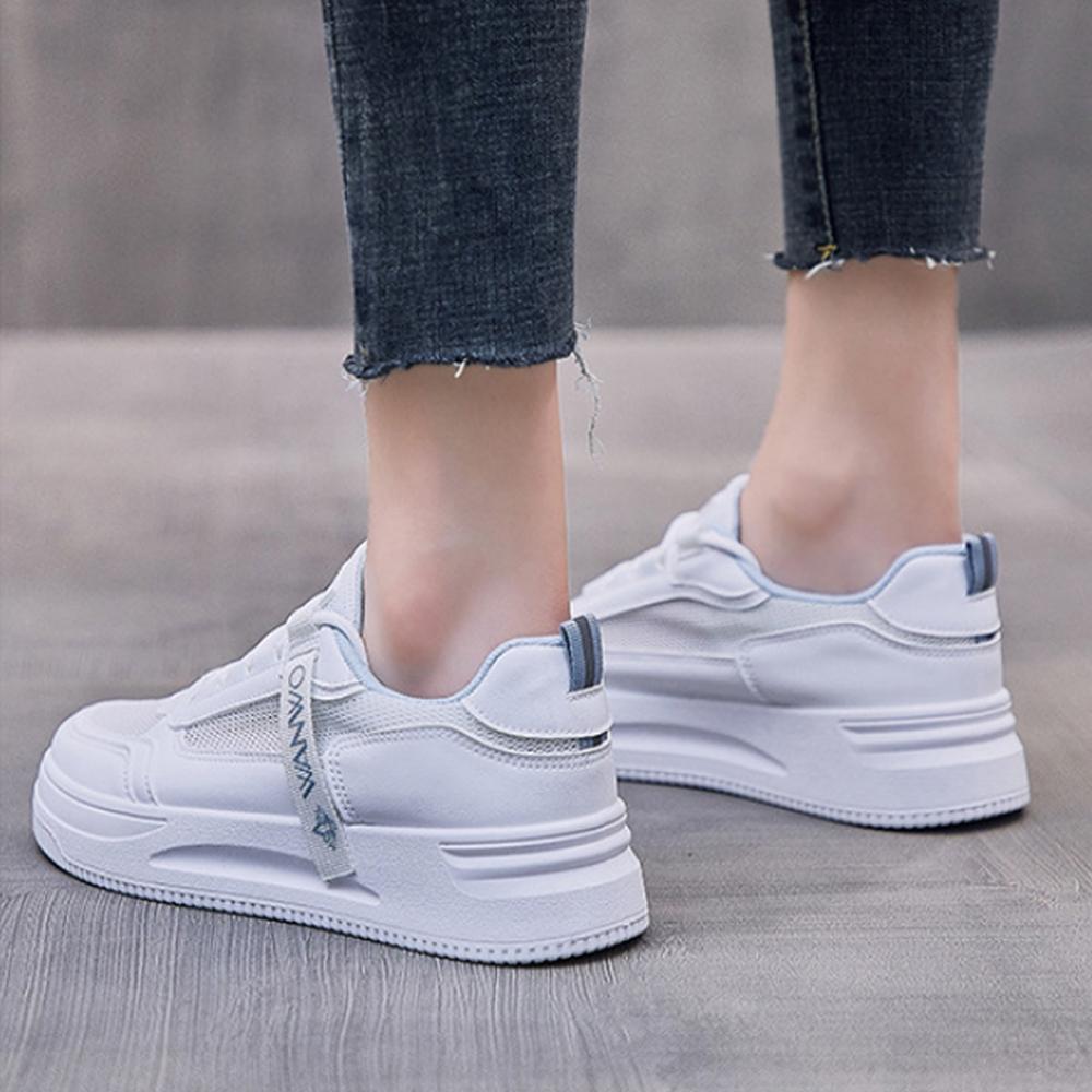 LN  現+預 韓版透氣網面織帶小白鞋(休閒鞋/平板鞋) (白藍色)