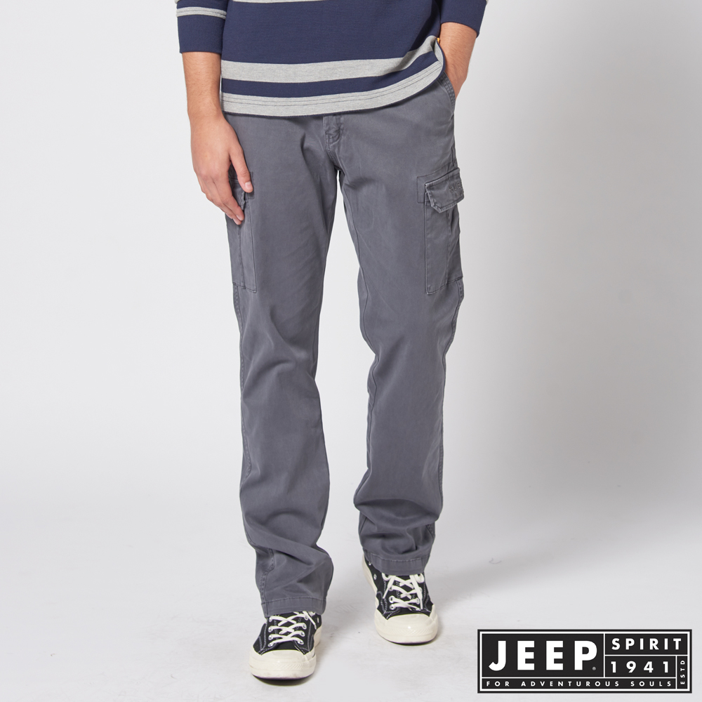 JEEP 經典復古洗舊工作褲 -灰色