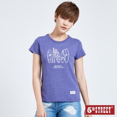 5th STREET 衝浪板印花 短袖T恤-女-紫褐