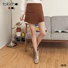 東京著衣 率性調調翻蓋造型斜片毛料短褲裙-M.L(共二色)