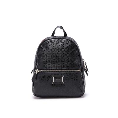 GUESS-女包-素面字母logo壓紋後背包-黑色