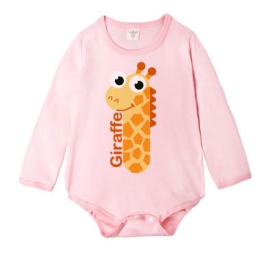 Baby童衣 長袖女寶包屁衣 獨家設計 粉色動物數字爬衣 66349