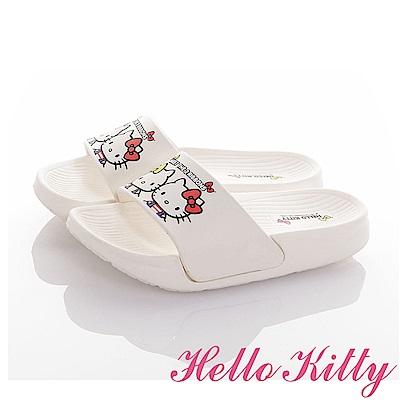 HelloKitty 雙胞胎系列 極輕量室內外減壓休閒拖鞋童鞋-白