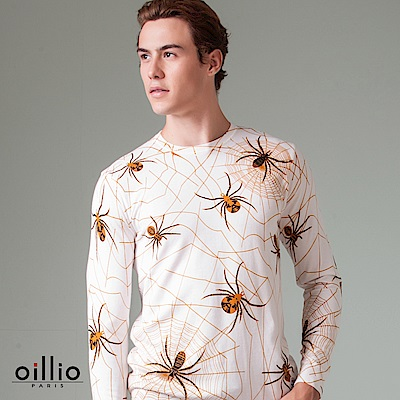 歐洲貴族 oillio 長袖線衫 蜘蛛圖樣 質感修身 白色