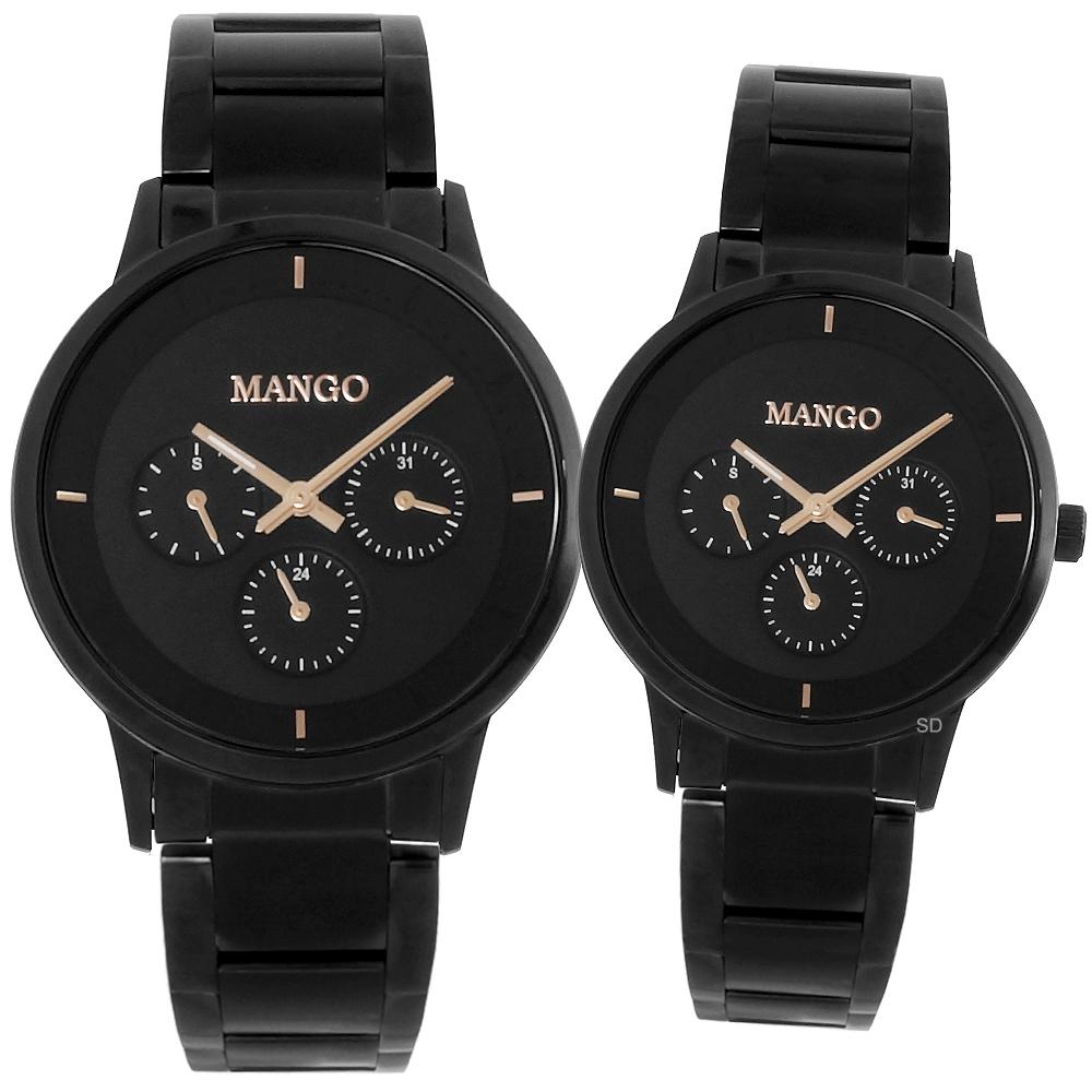 MANGO 簡約質感三眼時尚手錶男女對錶-黑/36/42mm