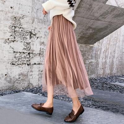 初色  金絲絨網紗半身裙-共3色-(M-XL可選)