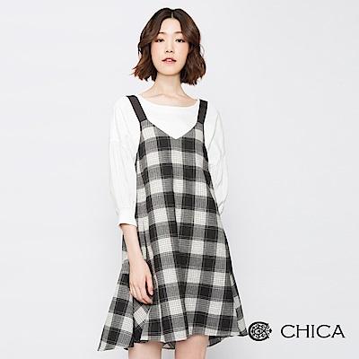 CHICA 雋雅樓閣傘狀拼接格紋背心洋裝(2色)