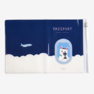 Dailylike 多功能夾鏈袋防水護照套-04快樂貓
