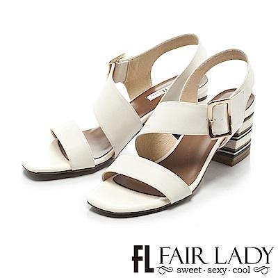 Fair Lady 復古繞帶玩色方頭塊根涼鞋 白