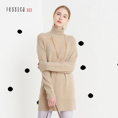 JESSICA RED - 經典羊絨混紡保暖舒適中長版高領毛衣(灰褐色)