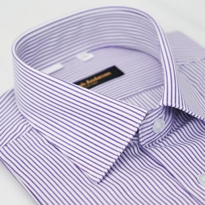 【金‧安德森】紫白條紋窄版短袖襯衫fast
