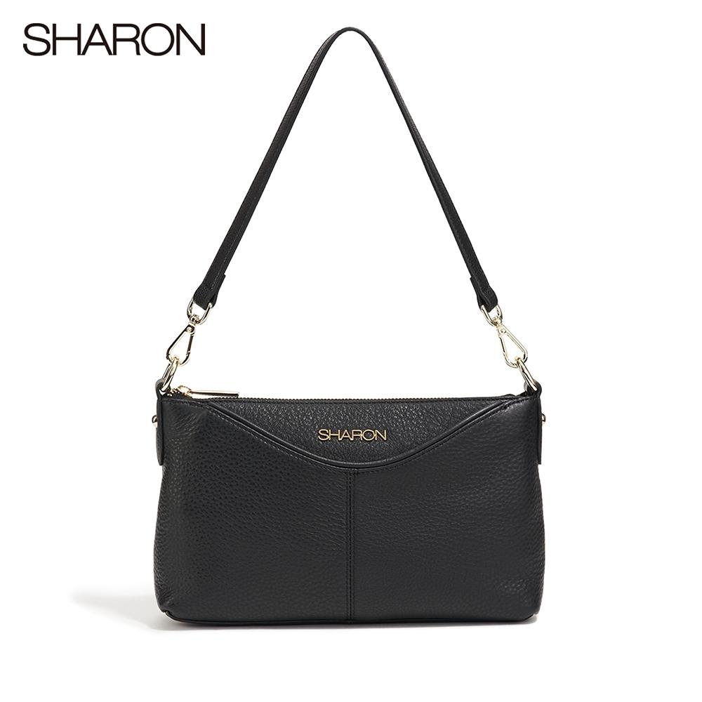 【SHARON 雪恩】頭層牛皮Dora軟皮斜背/側肩小包(黑色13091BK)