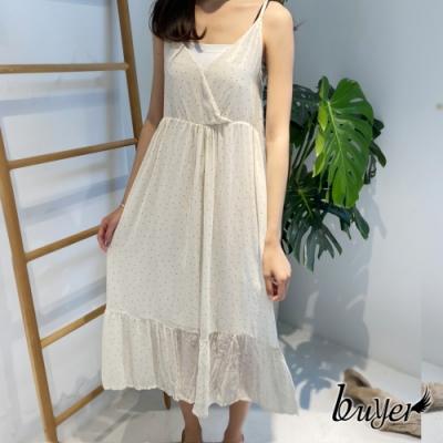 【白鵝buyer】日系經典水玉點點抓皺長版洋裝(白色)