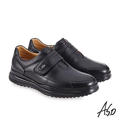 A.S.O機能休閒 萬步健康鞋 魔鬼黏款商務休閒鞋-黑