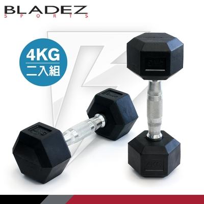 【BLADEZ】六角包膠啞鈴-4KG(二入組)
