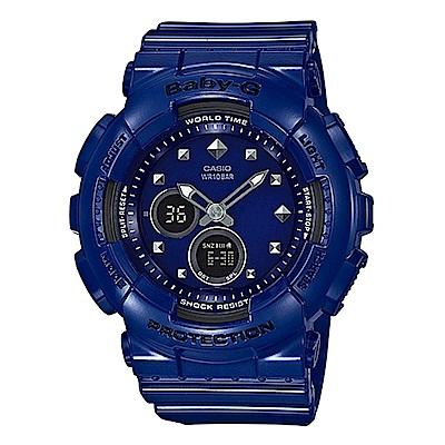 BABY-G 搖滾金屬鉚釘風隨性概念休閒運動錶(BA-125-2A)藍X黑面43.4mm