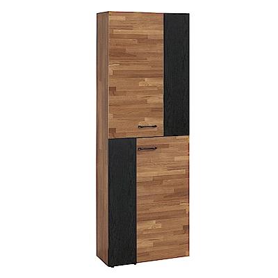 文創集 曼卡麗現代2尺木紋二門高鞋櫃/玄關櫃(二色可選)-60x32x182cm免組
