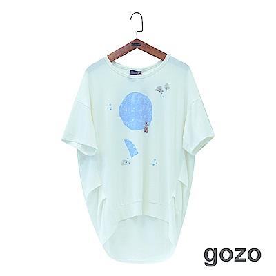 gozo 趣味斑駁抽象插畫造型上衣(二色)