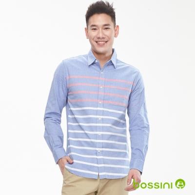 bossini男裝-圖案長袖襯衫02海軍藍