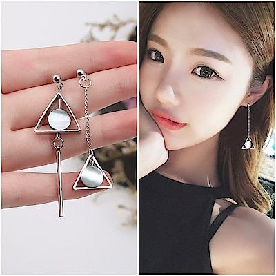 梨花HaNA 無耳洞韓國不對襯美感黑金三角人氣耳環