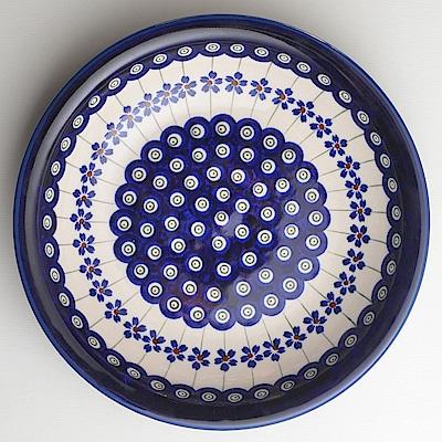 【波蘭陶 Zaklady】 藏青小卉系列 圓形深餐盤 22.2cm 波蘭手工製