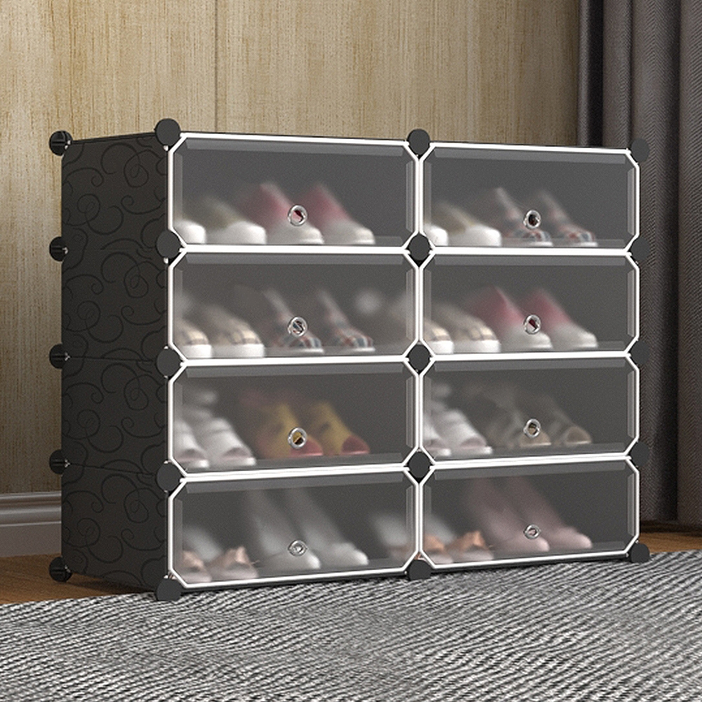 Mr.box  8格8門 防塵組合鞋櫃 深 32CM (黑+霧款)