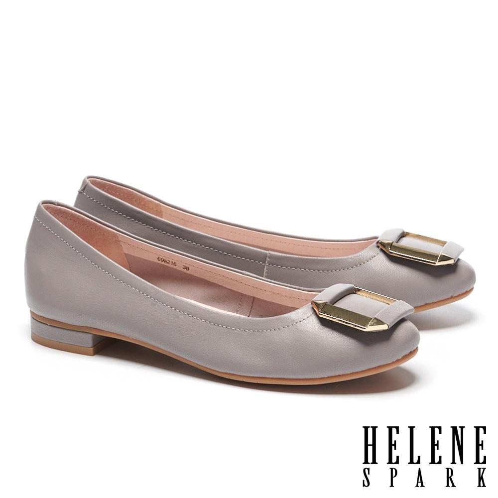 低跟鞋 HELENE SPARK 典雅氣質金屬方釦全真皮低跟鞋-紫