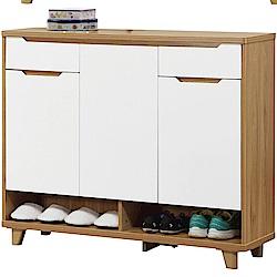 文創集 芭亞時尚3.7尺三門二抽鞋櫃/玄關櫃-110x33x98.5cm免組
