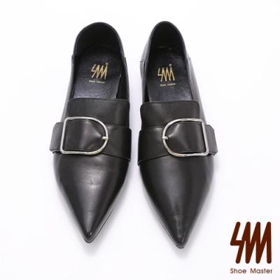 SM-時尚款-羊皮尖頭扣環率性鞋