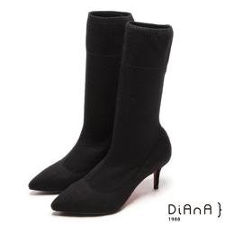 DIANA 街頭時尚--完美視覺針織舒適襪靴 - 黑