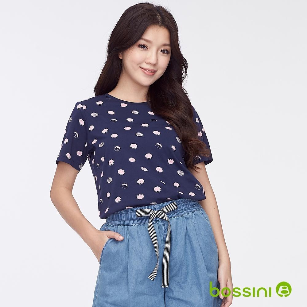 bossini女裝-圓領全版印花上衣05藏藍色