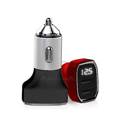 HANG 金屬鋁合金3.4A 雙USB電壓顯示快速車充頭 點煙器擴充座