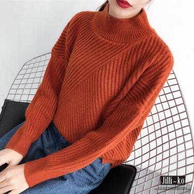 JILLI-KO 交叉緹花條紋針織衫- 橘色