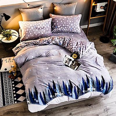 A-ONE法蘭絨 加厚兩用被毯雙人加大床包四件組 鵝絨雪(獨家花色)